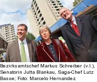 Bezirksamtschef Markus Schreiber, Senatorin Jutta Blankau, Saga-Chef Lutz Basse