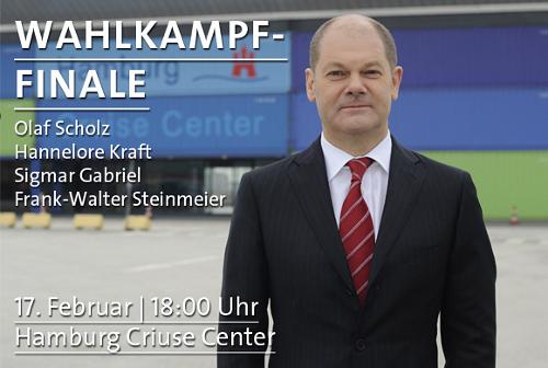 Wahlkampfendspurt mit Olaf Scholz, Sigmar Gabriel, Frank-Walter Steinmeier und Hannelore Kraft